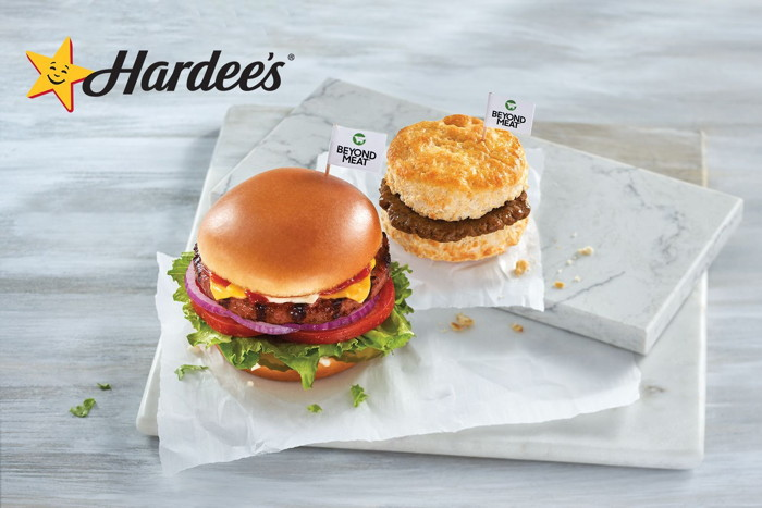 Hardee's New Beyond Breakfast Sausage Biscuit and The Original Beyond Thickburger