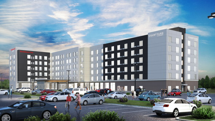 Rendering of the Dual-Branded Courtyard and Residence Inn to Open at Albany International Airport