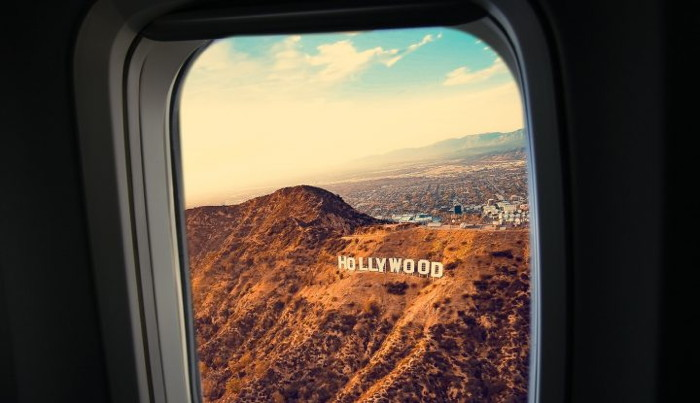 View of the Hollywood sign from an airplane