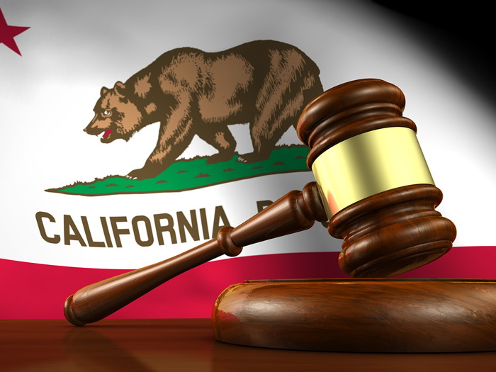 A california flag and a gavel