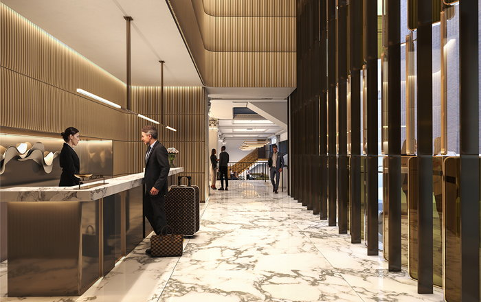 Rendering of the Hilton Melbourne Little Queen Street Reception