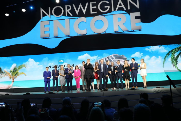 Image from Norwegian Encore christening ceremony