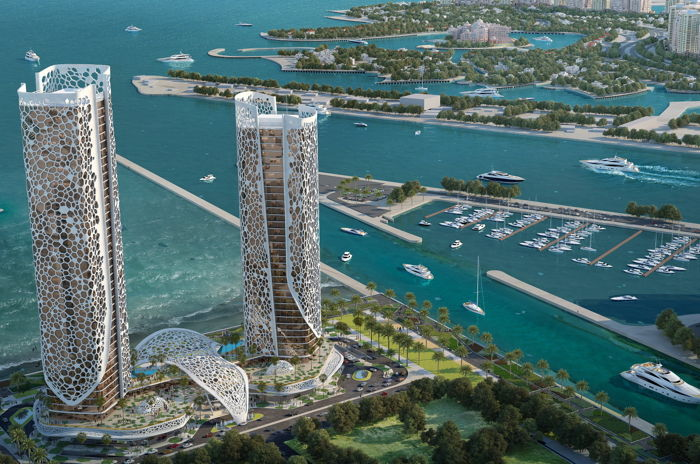 Rendering of the Rosewood Doha
