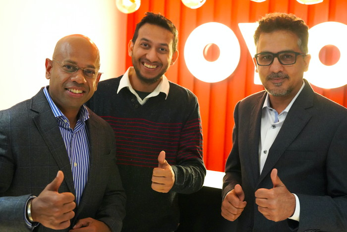Left to Right: Aditya Ghosh (L), Ritesh Agarwal (Middle), Rohit Kapoor (R)