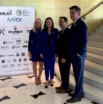 (L-R: Florida Restaurant & Lodging Association Carol Dover, Attorney General Ashley Moody, Miami Super Bowl Host Committee Executive Director Ray Martinez, American Hotel & Lodging Association President & CEO Chip Rogers)