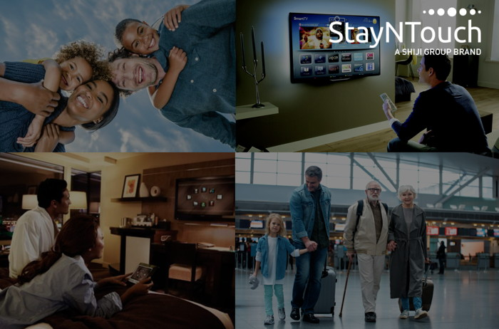 Collage of travel related photos and StayNTouch, A Shiji Group Brand logo