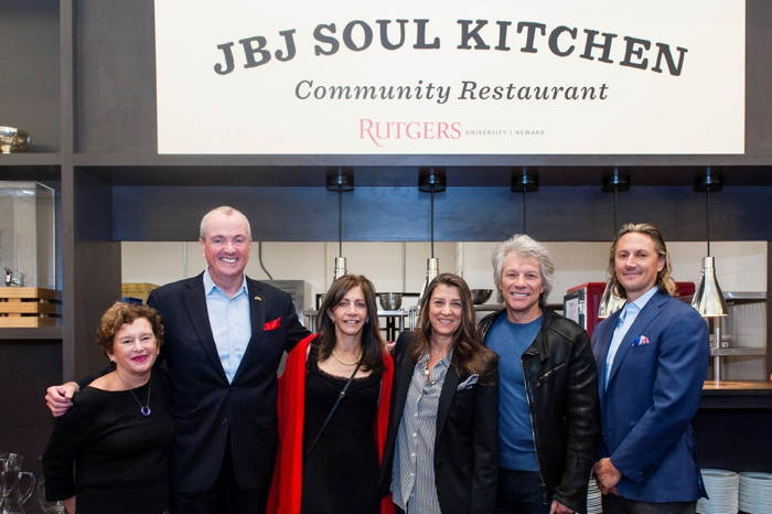 Pictured: Chancellor Nancy Cantor, Rutgers University – Newark; New Jersey Governor Phil Murphy; New Jersey First Lady Tammy Murphy; Dorothea and Jon Bon Jovi; Michael Frungillo, President, Gourmet Dining