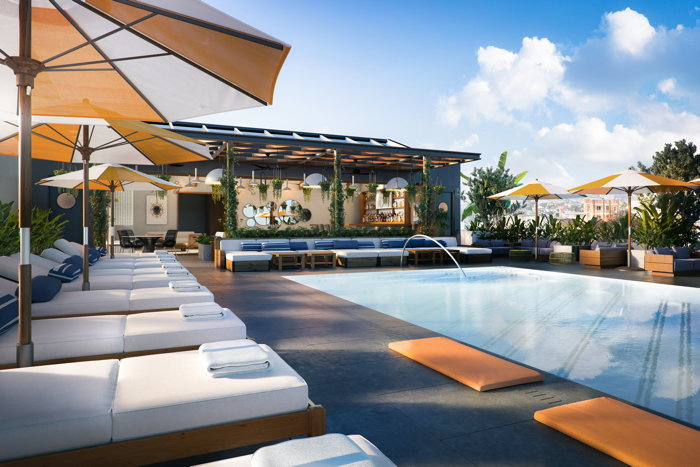The rooftop pool area of The Shay, A Destination Hotel, slated to open in Fall 2020