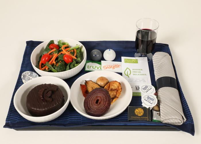 ew United Airlines Kosher dinner option on Newark to Tel Aviv in Polaris with Kosher wine.
