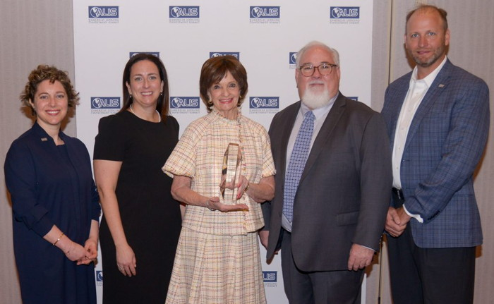 From Left to Right: Cecilia Gordon, ISHC, Co-Chair, Goulston & Storrs Hospitality & Recreation Industry Group; Andrea Belfanti, Executive Director, ISHC; Marilyn Carlson Nelson, Co-CEO, Carlson Holdings, Inc. & Pioneer Award Recipient; Jeff Higley, President, The BHN Group; Chris Cylke, ISHC, Chief Operating Officer of REVPAR International, Inc.