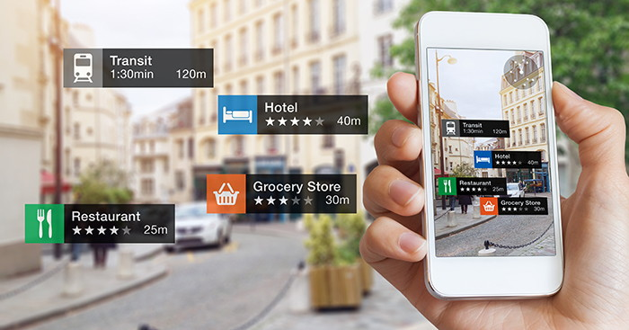 Smart phone showing realtime locations
