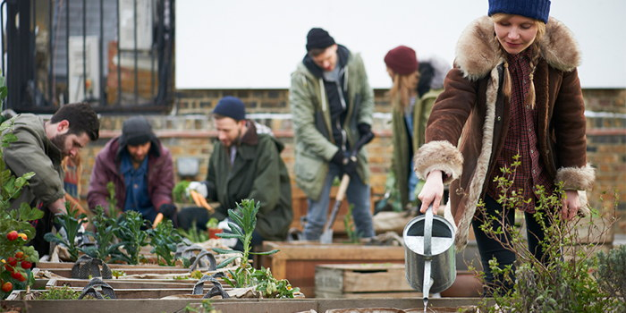 Young people in a garden - Source JLL