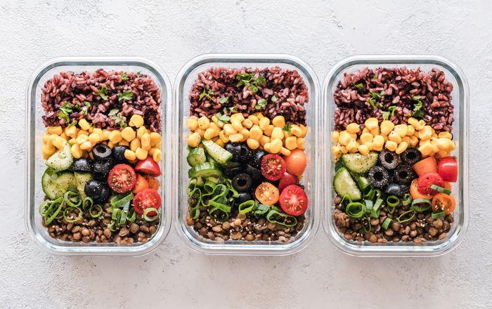 Three food trays
