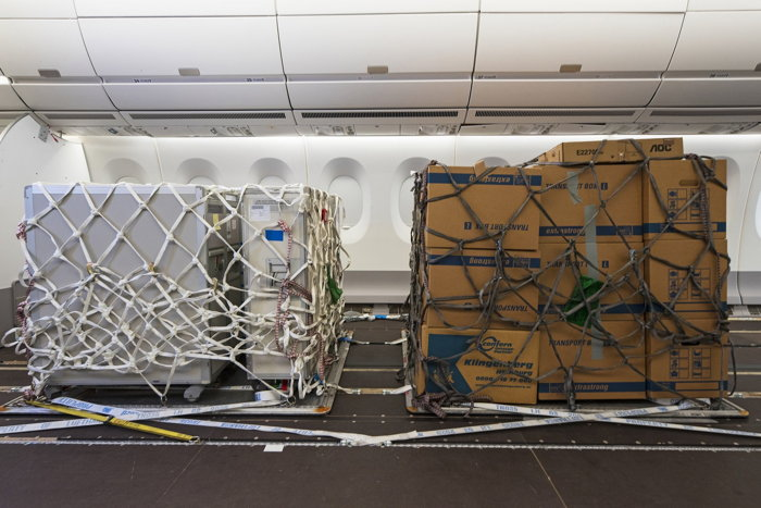 freight pallets inside a passenger plane - Source Airbus
