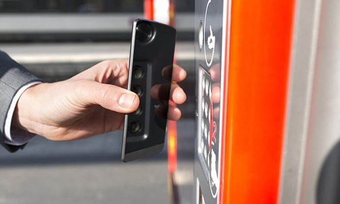 A cell phone using NFC