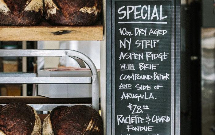 A menu board