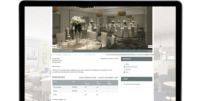 SalesAndCatering.com screenshot on a tablet