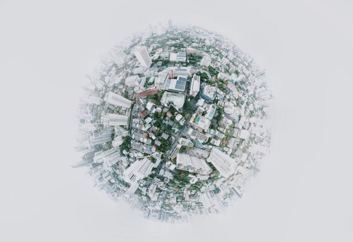 Fish eye photo of a city - Unsplash