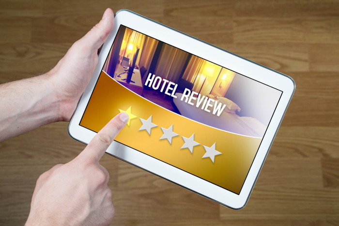 Hotel Review on a tablet