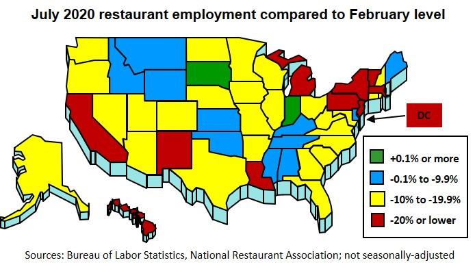 U.S. restaurant employment map - Source National Restaurant Association