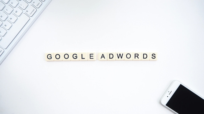 'Google Adwords' spelled with scrabble letters