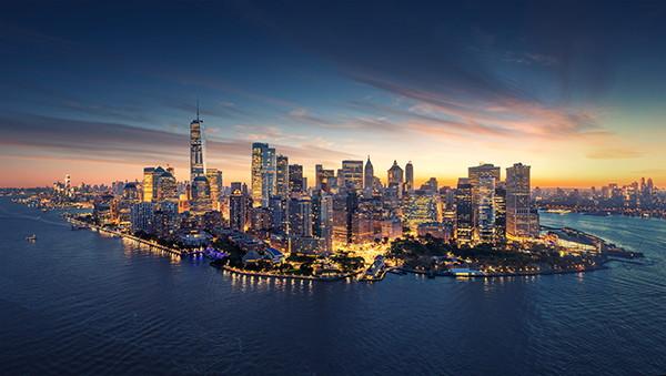Manhattan aerial view at night - Source WTTC