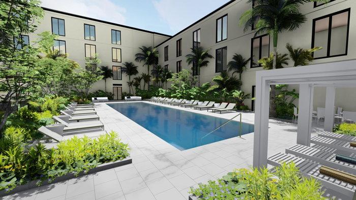 Rendering of the Hotel Haya pool - Source - Aparium Hotel Group