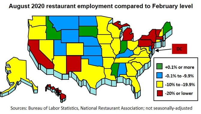 U.S. map - Restaurant Employment