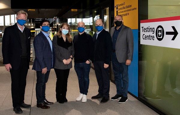 Pictured, left to right, at London Heathrow Airport are: Hermann Elger, President, Sharecare; Arif Kamal, Director Revenue Management, Global Travel Collection; Gloria Guevara, World Travel & Tourism Council President & CEO; J.D. O'Hara, CEO, Internova Travel Group; Peter Vlitas, SVP, Airline Relations, Internova Travel Group and Jason Oshiokpekhai, Managing Director, Global Travel Collection.