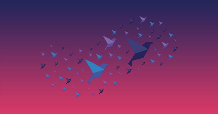 Illustration - computer on a desk a flock of birds - Source Cendyn