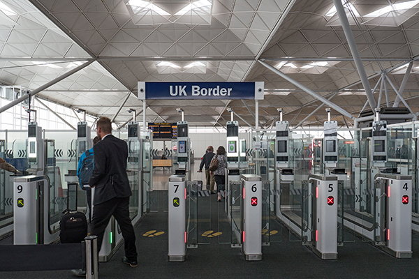 UK airport arrival hall