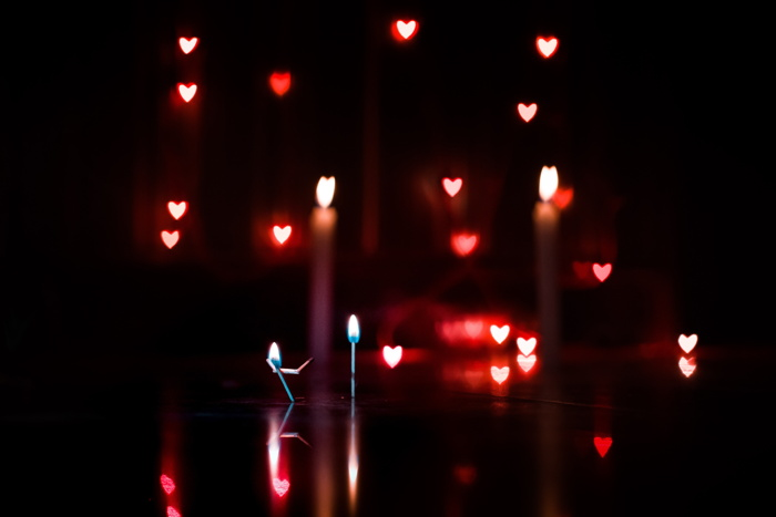 Candles and hearts