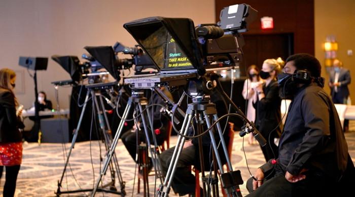quipment setup during Hilton Worldwide Sales event at Hilton McLean Tysons Corner.