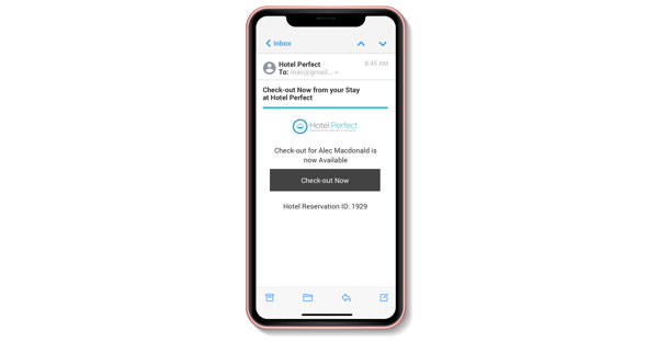Screenshot RoomKeyPMS mobile Mobile Check-Out