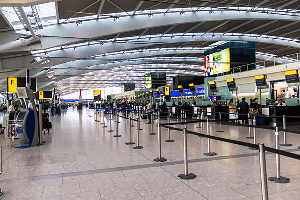 Airport check-in counters - Source WTTC