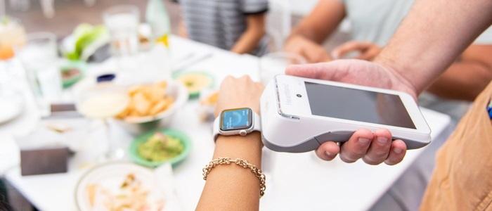 A mobile payment terminal - Source National Restaurant Association