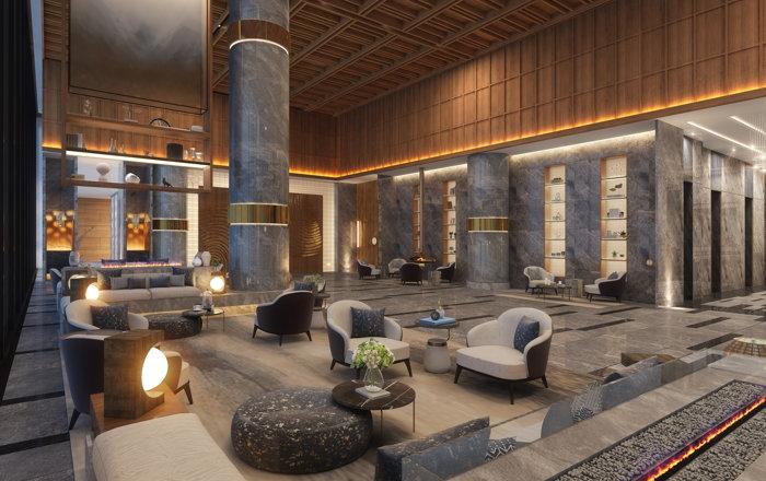 Rendering of Hyatt Regency Dehradun lobby lounge
