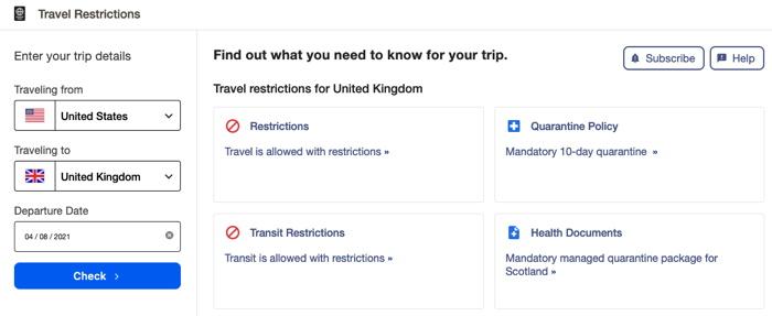 Screenshot of Expedia COVID-19 Travel Advisor