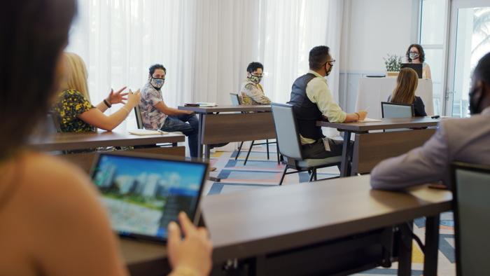 A meeting at a Hyatt hotel