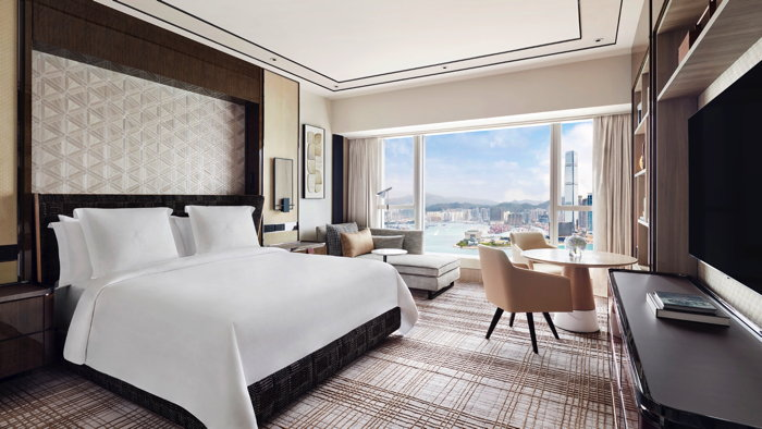 Guestroom at the Four Seasons Hotel Hong Kong