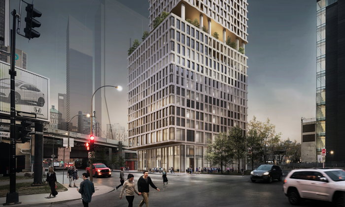 Rendering of the Moxy Montreal Hotel