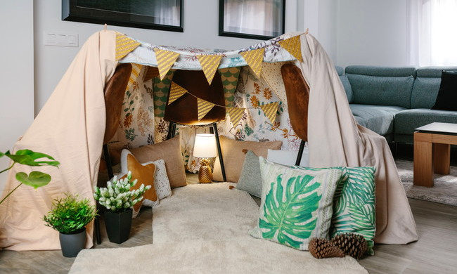 A tent in a living room