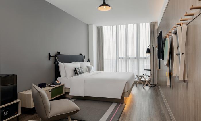 Guestroom at the Moxy Shanghai Hongqiao CBD