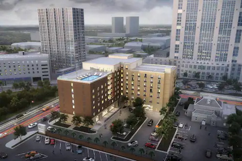 Hilton Garden Inn and Home2 Suites by Hilton Orlando Downtown - Aerial view