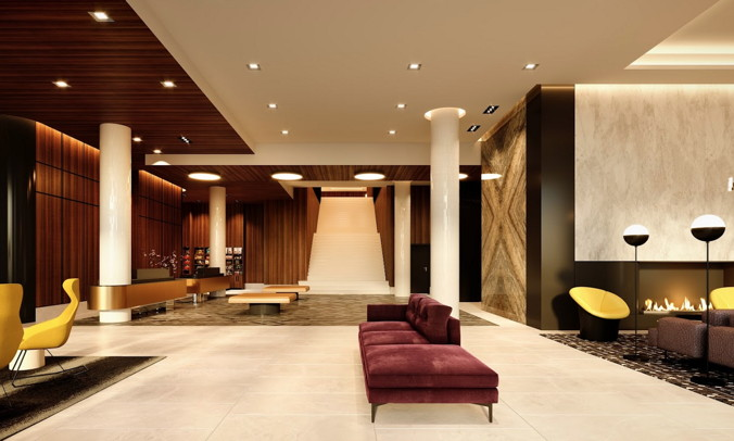 Lobby and entrance at the Dual-Branded Hilton Hotel in Montreal
