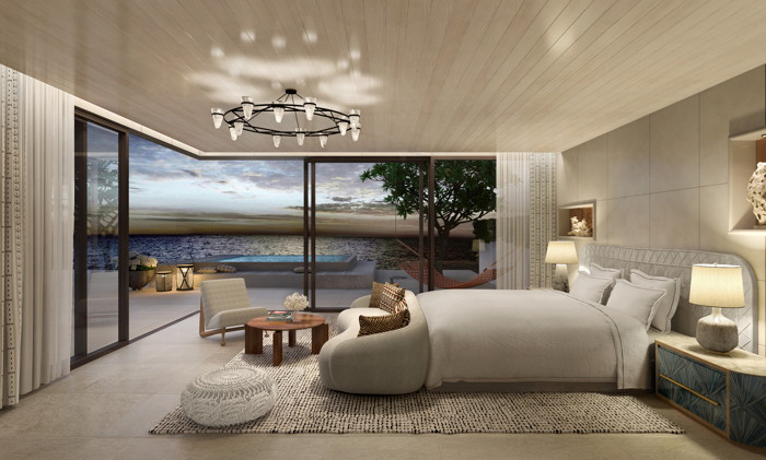 Rendering of the Villa One Master Bedroom at One&Only Aesthesis