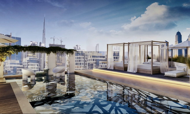 Rendering of the pool at the Hyde Dubai Business Bay