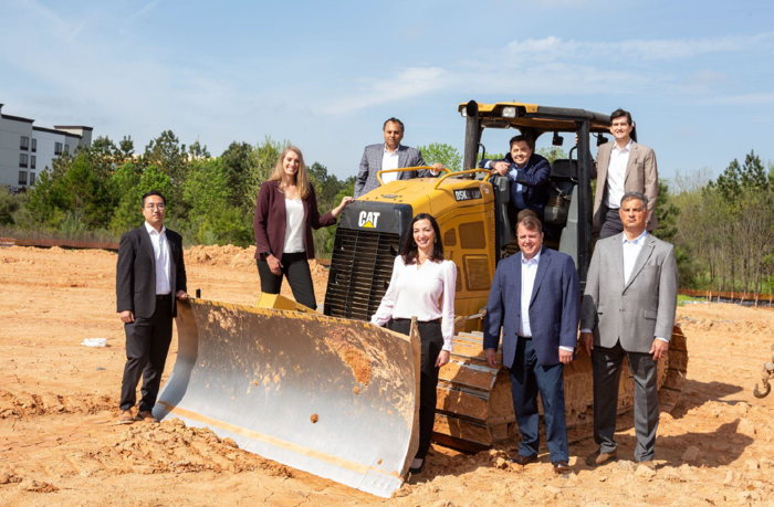 stayAPT Suites leadership team during the May 2021 ground breaking ceremony for its Charlotte-Northlake hotel