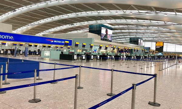 Empty airport check-in area - Source WTTC