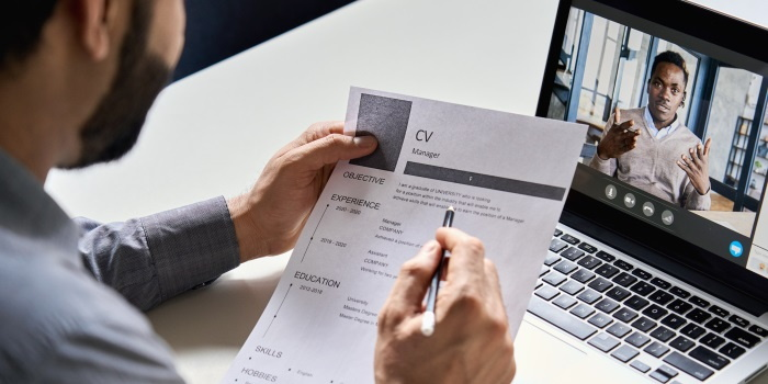 An online job interview being conducted - Source National Restaurant Association